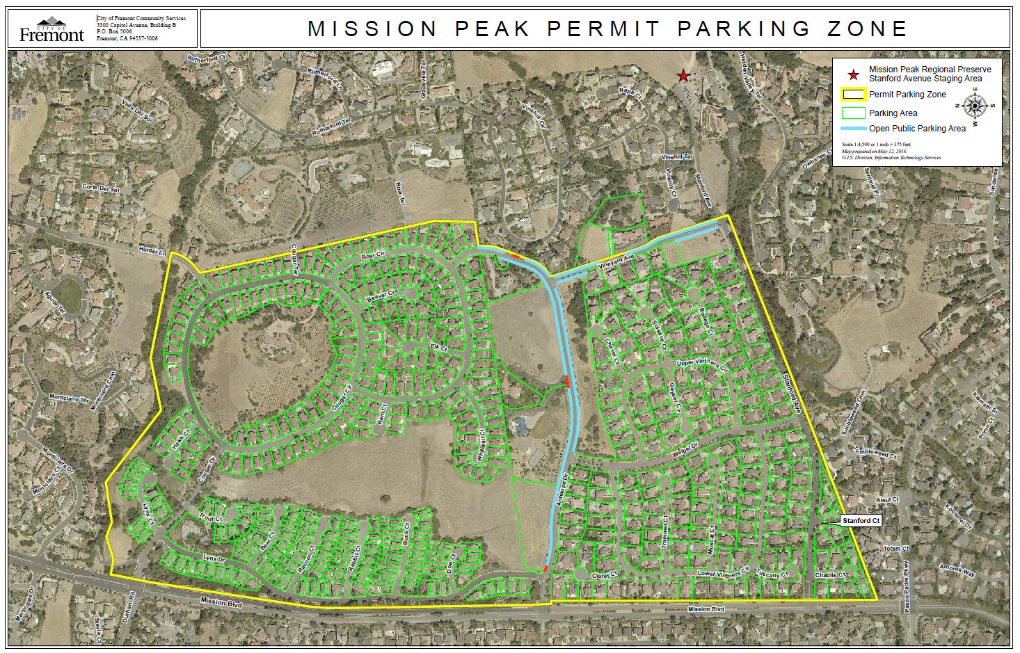 Map of Mission Peak Parking Permit Zone